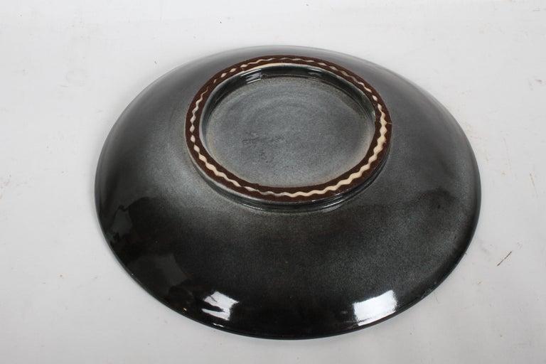Clay Vintage Stonelain AAA Coastal Scene Ceramic Charger by Artist Nicolai Cikovsky For Sale