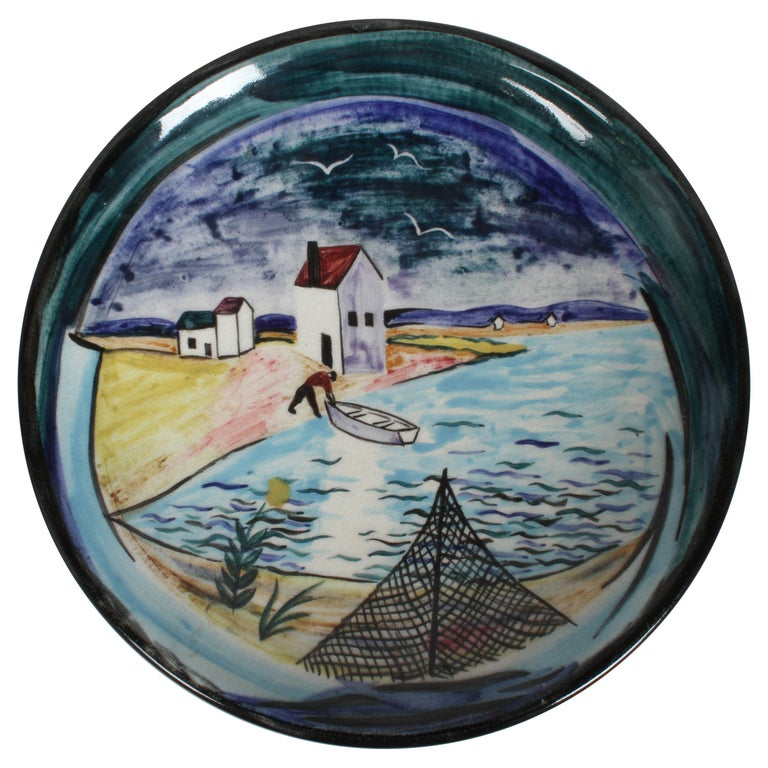 Vintage Stonelain AAA Coastal Scene Ceramic Charger by Artist Nicolai Cikovsky For Sale