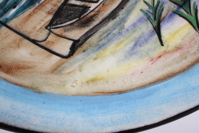 Vintage Stonelain Associated American Artists Ceramic Charger, Nicolai Cikovsky For Sale 1