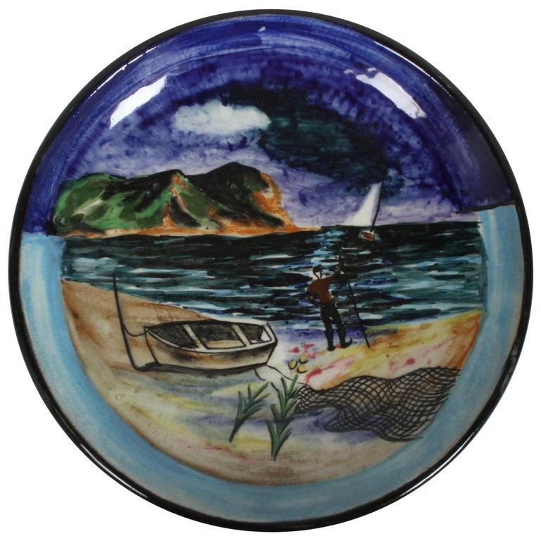 Vintage Stonelain Associated American Artists Ceramic Charger, Nicolai Cikovsky For Sale
