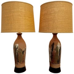 Vintage Stoneware Lamps by Larry Shep