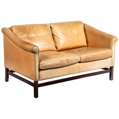Vintage Stouby Danish Leather and Mahogany Sofa