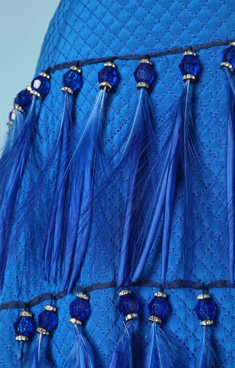 Blue Vintage strapless blue silk feather and strass dress Versace Couture For Sale