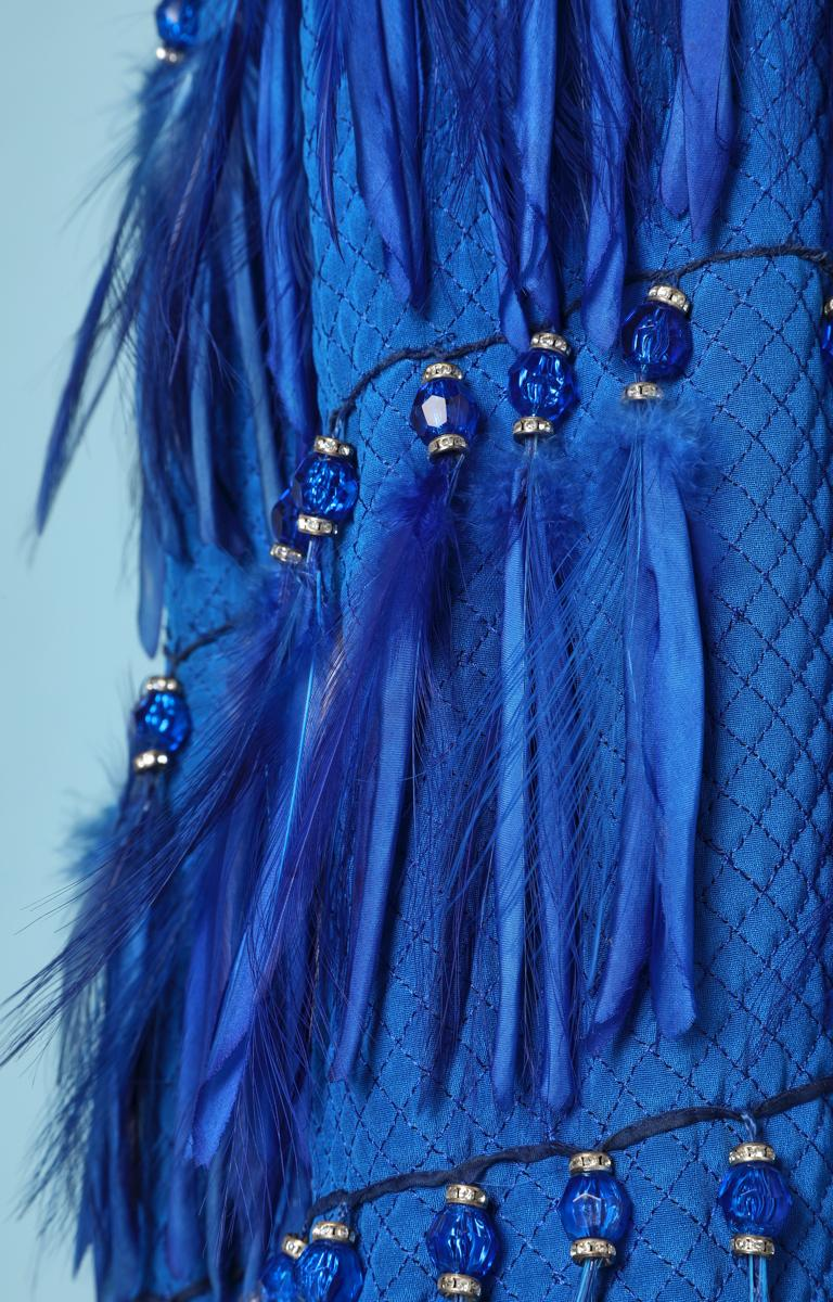 Vintage strapless blue silk feather and strass dress Versace Couture In Excellent Condition For Sale In Saint-Ouen-Sur-Seine, FR