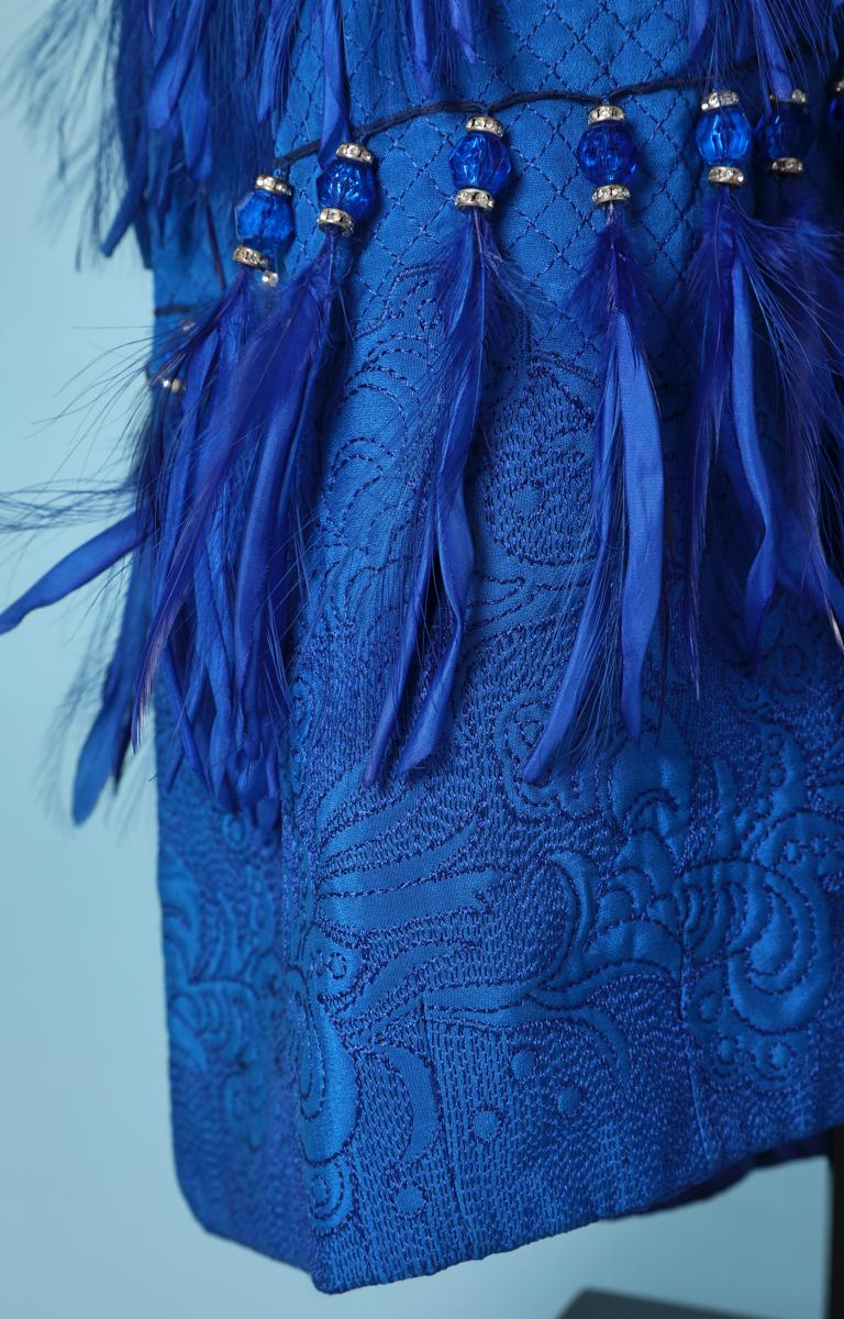 Women's Vintage strapless blue silk feather and strass dress Versace Couture For Sale