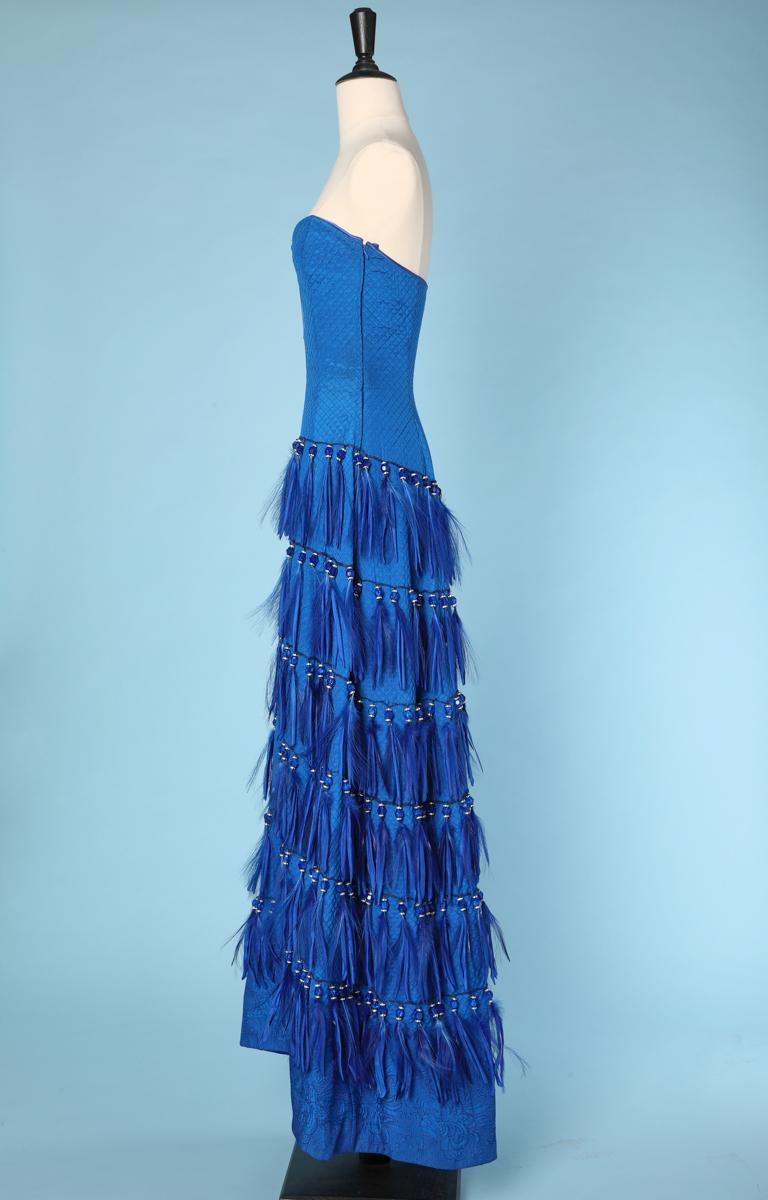 Vintage strapless blue silk feather and strass dress Versace Couture For Sale 1
