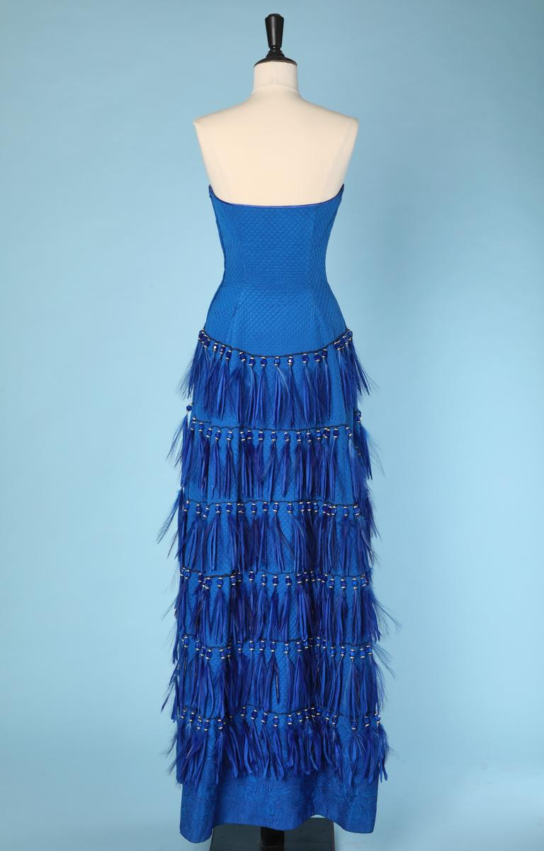 Vintage strapless blue silk feather and strass dress Versace Couture For Sale 2