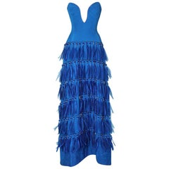 Vintage strapless blue silk feather and strass dress Versace Couture