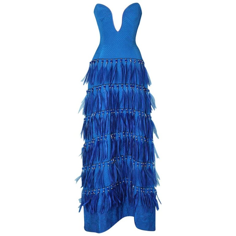 Vintage strapless blue silk feather and strass dress Versace Couture For Sale