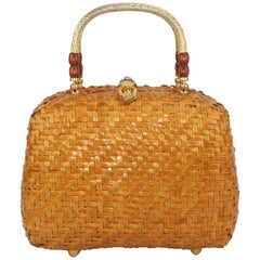 Vintage Straw Handbag With Gold Handles