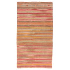Vintage Striped Anatolian Kilim Rug, All Wool, Both Sides Can Be Used
