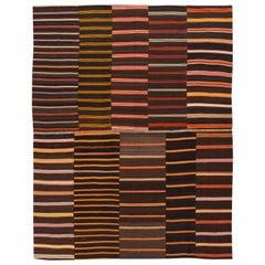 Vintage Striped Flat-Weave Handmade Brown Wool Rug