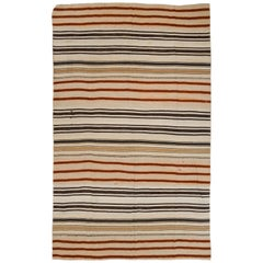 7.8x12.4 Ft Vintage Striped Handwoven Turkish Kilim 'Flat-Weave'