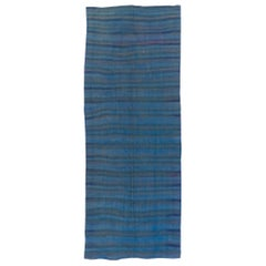 Striped Kilim Runner in Blue, Teal and Gray. All Wool