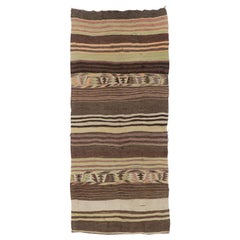 Vintage Striped Anatolian Kilim Runner. %100 Wool. Reversible