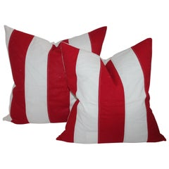 Vintage Striped Red and White Flag Pillows