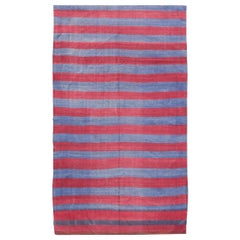Vintage Striped Turkish Kilim in Modern Design with Red and Blue