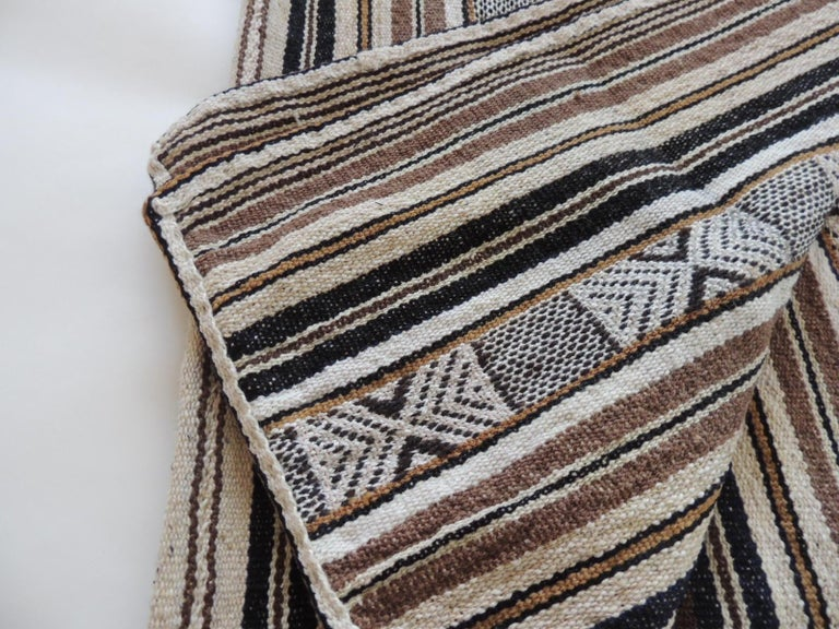 Peruvian Vintage Stripes and Tribal Design Woven Throw For Sale