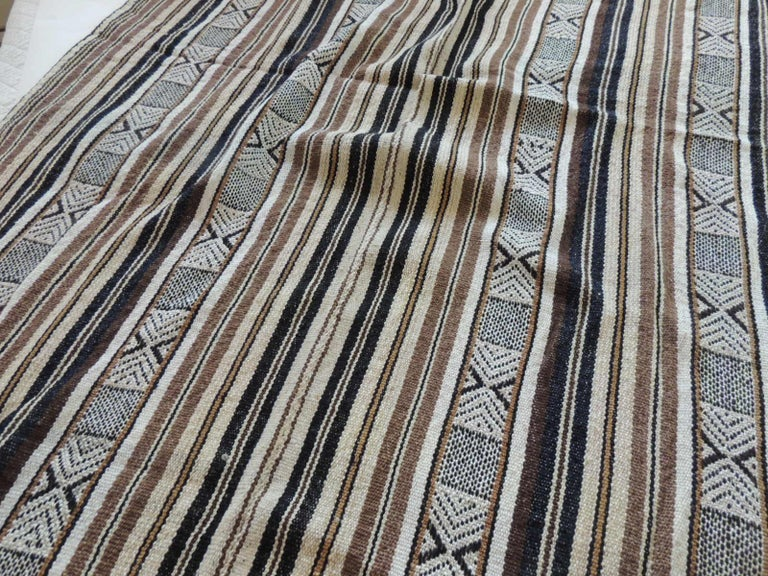 Hand-Crafted Vintage Stripes and Tribal Design Woven Throw For Sale