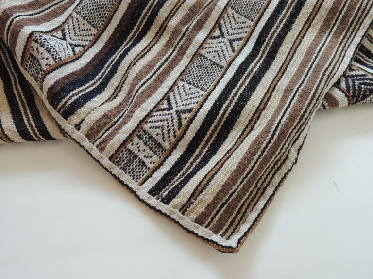 Vintage Stripes and Tribal Design Woven Throw In Good Condition For Sale In Fort Lauderdale, FL