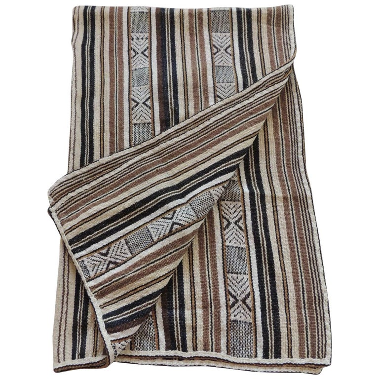 Vintage Stripes and Tribal Design Woven Throw For Sale