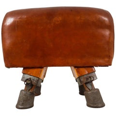 Vintage Strong Patinated Leather Gym Bench, circa 1930s