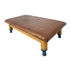 Vintage Strong Patinated Leather Gym Bench or Table, circa 1940