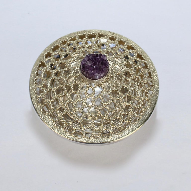 Vintage Stuart Devlin Sterling Silver and Amethyst Reticulated Covered Posy Bowl For Sale 6