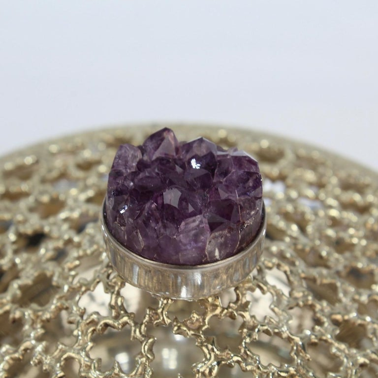 Vintage Stuart Devlin Sterling Silver and Amethyst Reticulated Covered Posy Bowl For Sale 8