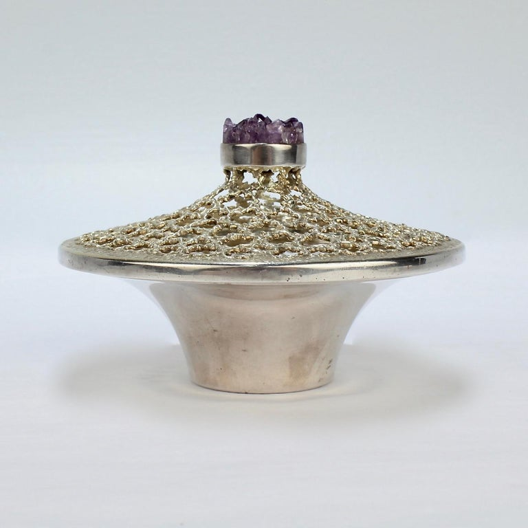 Modernist Vintage Stuart Devlin Sterling Silver and Amethyst Reticulated Covered Posy Bowl For Sale