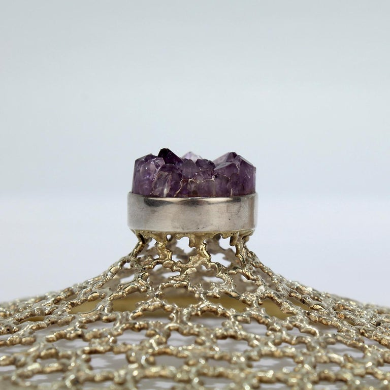 Vintage Stuart Devlin Sterling Silver and Amethyst Reticulated Covered Posy Bowl For Sale 1