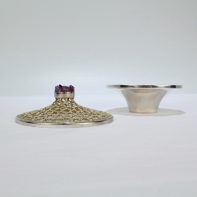 Vintage Stuart Devlin Sterling Silver and Amethyst Reticulated Covered Posy Bowl For Sale 2