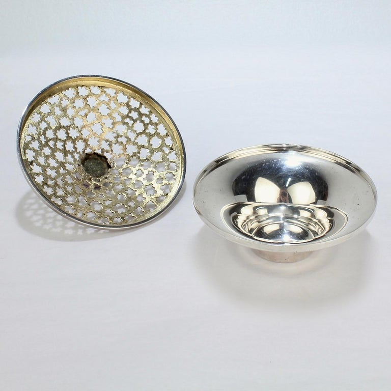 Vintage Stuart Devlin Sterling Silver and Amethyst Reticulated Covered Posy Bowl For Sale 3