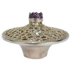 Vintage Stuart Devlin Sterling Silver and Amethyst Reticulated Covered Posy Bowl