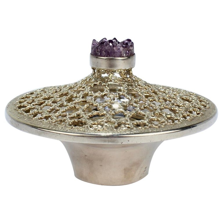 Vintage Stuart Devlin Sterling Silver and Amethyst Reticulated Covered Posy Bowl For Sale