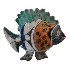 Vintage Studio Art Pottery Fish Sculpture Signed S. Dewitt