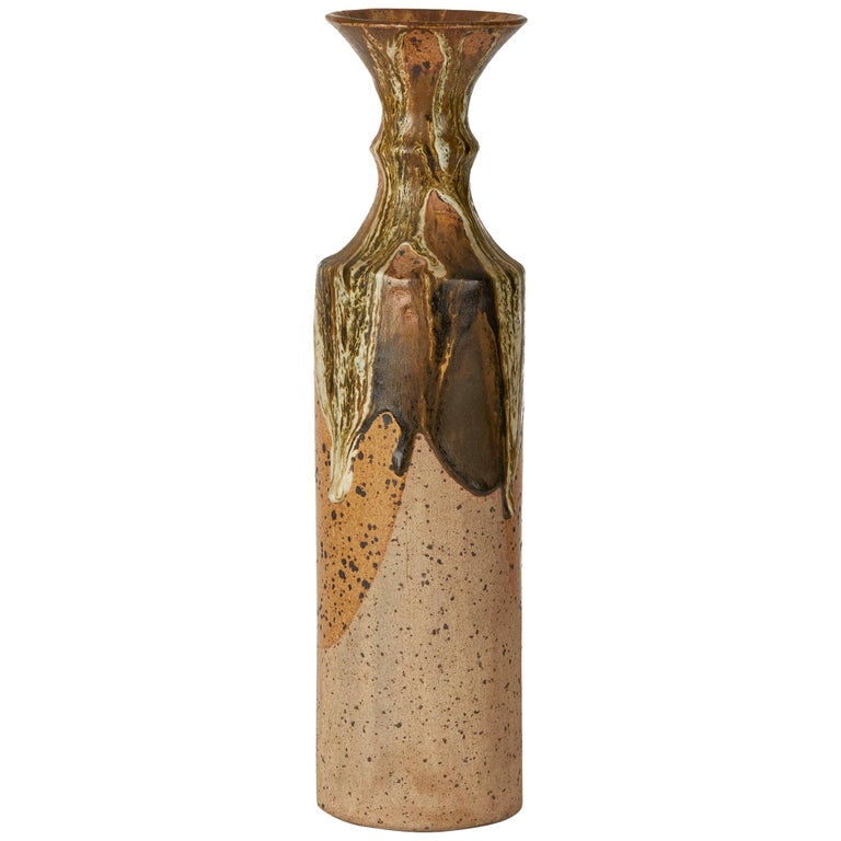 Vintage Studio Pottery Drip Glazed Bottle Vase Signed For Sale