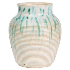 Vintage Studio Pottery Green Glazed Vase, 20th Century