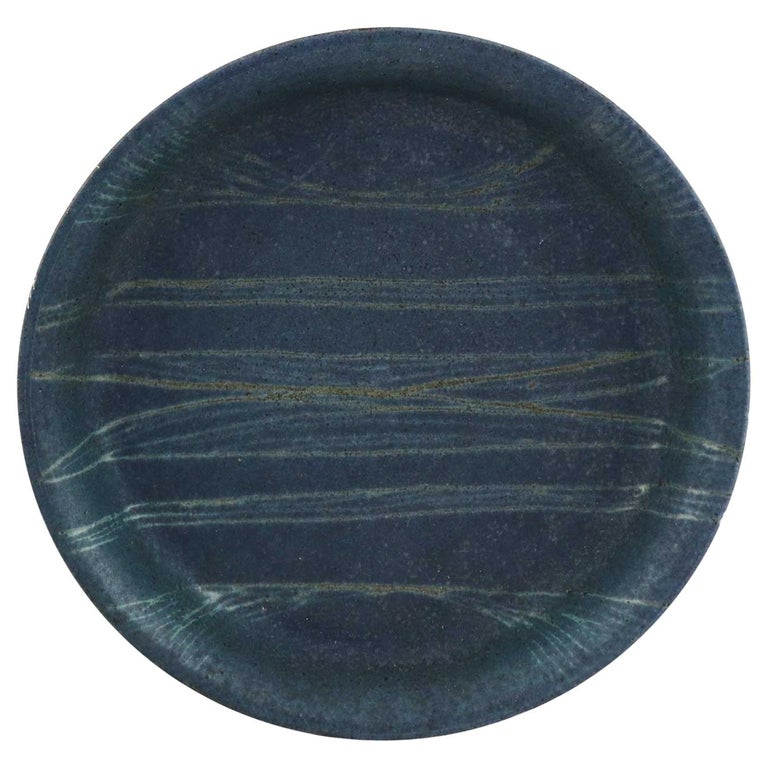 Vintage Studio Stoneware Pottery Plate with Geometric Design by Jack E. Wright For Sale