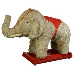 Vintage Stuffed Elephant Toy on Wooden Cart with Wheels, 1960s