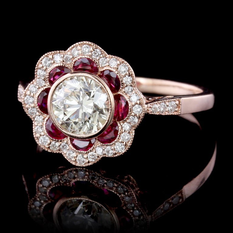 Ruby Engagement Rings For Sale: Vintage Style 14 Karat Rose Gold Diamond And Ruby