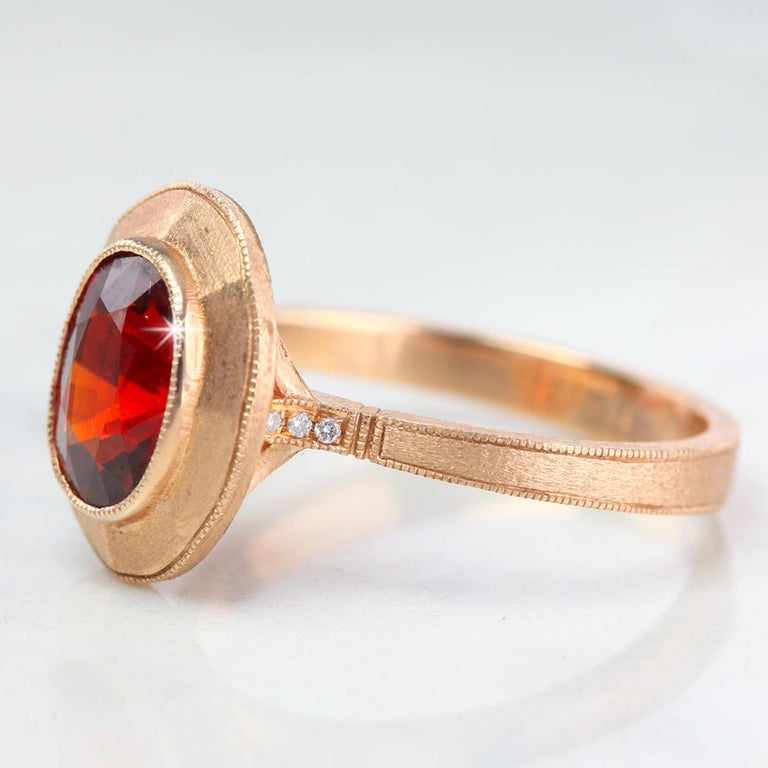 Oval Cut Vintage Style 2.57 Carat Oval Garnet Gemstone Ring For Sale