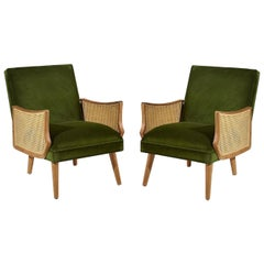 Set of Two Vintage Style Armchairs with Cane Armrests, Made in France