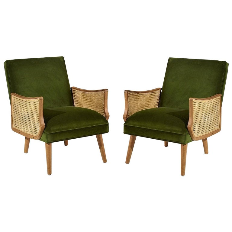 Set of Two Vintage Style Armchairs with Cane Armrests, Made in France For Sale