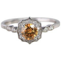 Vintage Style Champagne Diamond Ring, Soliatire White Gold Ring
