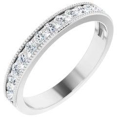 Vintage Style Diamond Wedding Ring Anniversary Band 18k White Gold 0.52 Carat