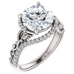 Vintage Style Filigree Deco Halo Round Diamond GIA Certified Engagement Ring