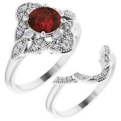 Vintage Style Halo Garnet January Birthstone Wedding Ring Set 18k White Gold