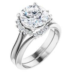 Vintage Style Halo GIA Round Diamond Engagement Ring 18k White Gold 1.05 Carats