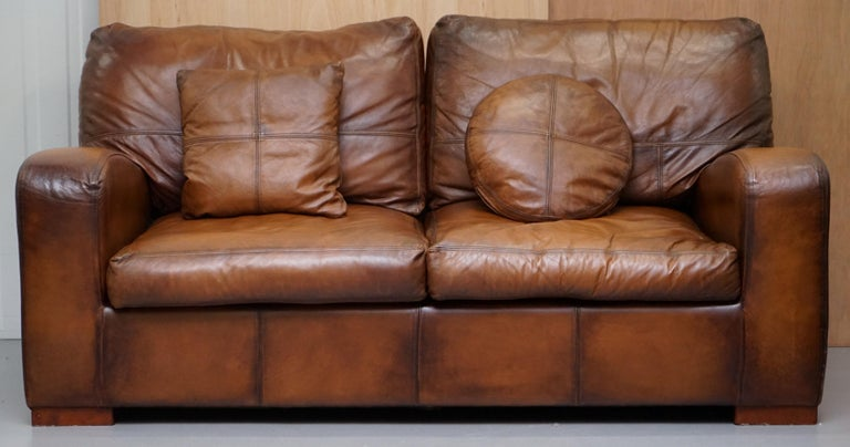 Terrific Vintage Style Hand Dyed Cigar Brown Leather Sofa Lovely Style And Design Short Links Chair Design For Home Short Linksinfo